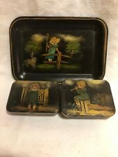 Small Antique /Vintage Toleware Painted Metal Trinket Dish And Containers
