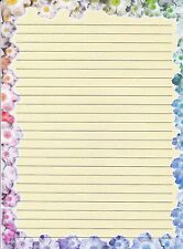 """Flower Bordered  Lined Stationery 8 1/2"""" by 11"""", 25 sheets and 10 envelopes"""