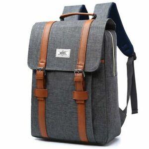 Bag Backpack School College Laptop Rucksack Boys Girls Canvas Retro Large Unisex