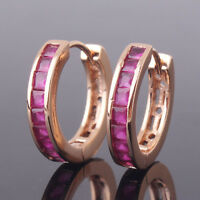 HUCHE Hot Pink Sapphire Rhinestone Crystal Yellow Gold Filled Women Hoop Earring
