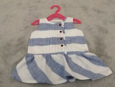 Baby Girls 100% Cotton Blue/White Striped Sleeveless Dress (0-3 Months) By Next