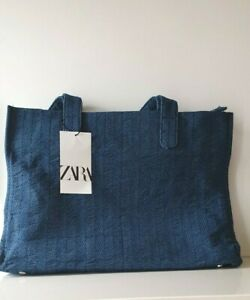 ZARA  DENIM TOTE shopper Bag Navy/Denim blue  BAG   BNWT