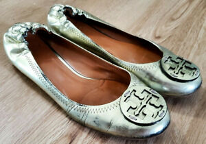 Tory Burch Womens Flats Size 7.5 Reva Gold