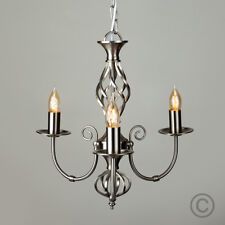 Traditional Brushed Chrome Wrought Iron Twist 3 Way Chandelier Ceiling Light