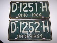 Vintage 1964 Green & White Ohio License Plates x2