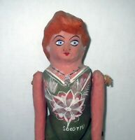 Antique Jointed Folk Art PAPER MACHE DOLL - Toleware HAND PAINTED