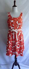 Boden 10 Orange White Retro Flower Fit & Flare Marilyn Tea Dress Vtg. 50's Style