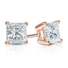 1.25 Ct 14k Rose Gold Finish Square & Princess Shape Diamond Stud Earrings