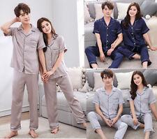 Womens mens Silk Satin Pajamas Set Sleepwear Short SleeveNightwear Loungewear
