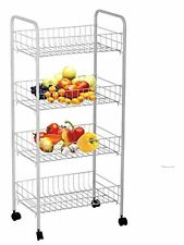 Wire World 4-tier Rolling Cart, White NEW