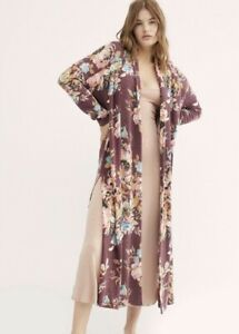Free People Kimono Robe Floral Stretchy Plum Pink Open Front Intimately XS NEW