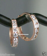 """TINY 9mm Small Solid 14K Pink Rose Gold CZ Cartilage Huggies Hoop Earrings 0.35"""""""