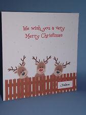 PERSONALISED  HANDMADE 3 REINDEERS CHRISTMAS CARD
