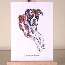 Mixed Media Boxer dog Classic Oil and Charcoal Drawing ACEO art miniature card