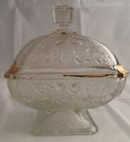 ❤️Vintage Clear Glass Gold Gilt Pedestal Candy Dish with Lid Pressed Acorn