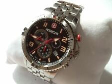 Pre-owned: Wenger Men's Squadron Chrono Watch 77055 Silver Black dial
