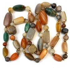 VINTAGE BEGGAR BEAD NECKLACE POLISHED STONE BEADS BEADED JEWELRY