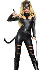 Forever Young Ladies PVC Faux Leather Catfight Catwoman Fancy Dress Costume UK Size 14