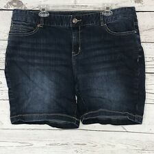Maurices Womens SZ 22 Jean Shorts Blue Whiskered Dark Wash