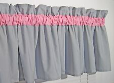 Baby Pink and Gray Window Topper Curtain Valance Bath Bedroom Nursery FREE SHIP