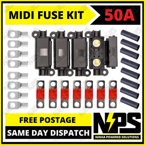 50A MIDI FUSE KIT 4 ANS Holder 7 x 50 AMP Fuses to suit Redarc BCDC Dual Battery