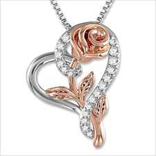 Gorgeous Rose Flower Heart Shaped 925 Silver Two Tone Pendant Necklace Jewelry