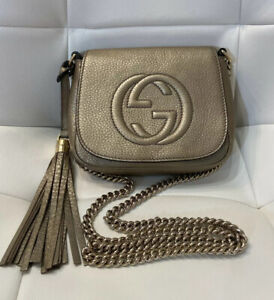 100% Authentic Gucci Soho Bag Crossbody Leather chain tassel