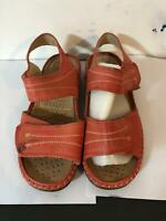 Caravelle Orange Leather Sandals Size 7 Extra Wide Fit Womens  (P208)