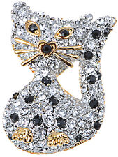 Crystal Elements Heart Accent Nose Petite Kitty Cat Fashion Pin Brooch