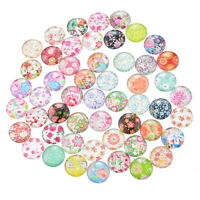 50PCs Flower Mixed Glass Embellishments Cabochons Findings Phone Decor 12mm