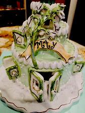 May Birthday Cake, Plate Heather Goldmine Emerald Birthstone Blue Sky Clayworks