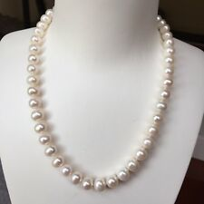 100% natural freshwater 9.5-10mm pearl necklace 45cm length AA Good  Luster