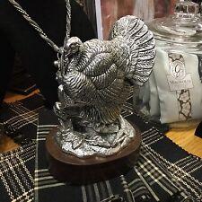 """8.5"""" Silver Turkey on Wood Base"""