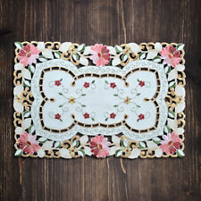 Set of 4 Embroidered Cutwork Lace Placemats Dining Table Mat Doilies 12x19inch