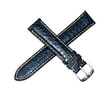 "Jacques Lemans 21MM Genuine Alligator Leather Skin Watch Strap Band 7.5"" BLUE"