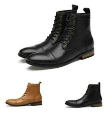 Mens Ankle Boot Leather Pointy Toe Dress Formal High Top Lace Up Casual Shoes Sz