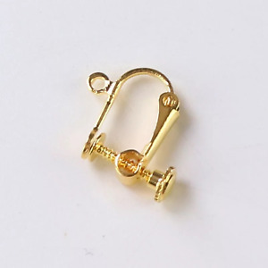10pcs Real Gold Earrings Hooks Findings Non Piercing Adjustable DIY Clips Gift