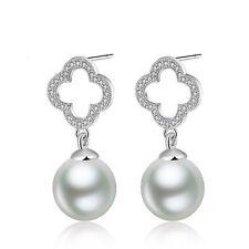 Women Jewelry Elegant 925 Sterling Silver Crystal Ear Stud Earrings Clover Pearl
