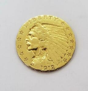 1912 US GOLD $2.50 Indian Coin cleaned .1209AGW L9689