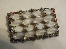 Stunning Brooch Pin Gold Tone Filled Colorful Frosted Rhinestones 2 1/2 x 1 3/8