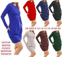 Womens Long Sleeve Tunic Winter Fleece Long Sweat Jumper Pockets Midi Dress