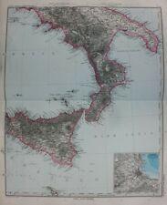 Original antique map SICILY, ITALY, PALERMO, Stieler, 1891