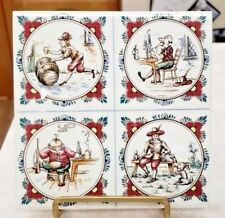 Vintage Art Tile 4 Scenes Men With Beverage Marked H and S17 and Fel