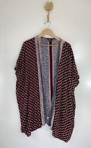 ANGIE Medium Maroon Floral Open Cardigan Kimono Short Sleeve