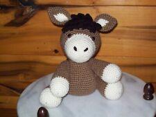 Adorable crochet baby 9 inch Donkey animal toy doll handmade nursery