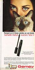 PUBLICITE ADVERTISING 055  1966  GEMEY maquillages yeux de chat mascara