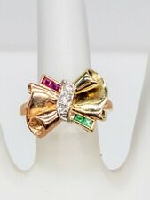 Antique 1940s BOW TIE .50ct Natural Emerald Ruby Diamond 14k Gold Platinum RING