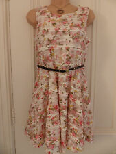 River Island size 10 white little lace lined floral dress brown plaited belt