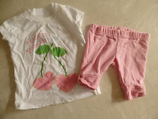 baby girls 2 PIECE MOMMY'S SWEETIE OUTFIT pink leggings CHERRIES cute! 0-3 MONTH