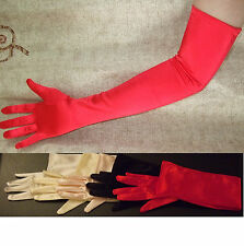 """23"""" RED Stretch Satin Wedding Bridal Opera Gloves Party Prom Halloween NEW"""